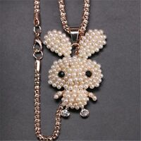 Rabbit Shaped Peal Crystal Necklace Fashion Jewelry Sweater Chain Pendant