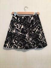 Zara White Black White Gray Embroidered A-Line Mini Skirt Sz XS