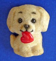 Russ PIN Valentines Vintage PUPPY DOG Flocked TAN Red HEART Holiday Tac Brooch