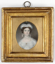 """""""Portrait of a lady in white"""", English miniature, ca. 1825"""