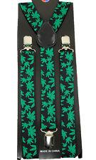 """Unisex Clip-on Braces Elastic Green """"Marijuana"""" Suspender"""