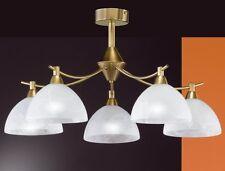 Plafonnier Style Campagne Lampe suspension Lustre 5 branches Verre albâtre 4328
