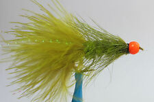 10x Mouche Streamer Wooly Bugger Olive Pattes bille Orange H10 rubber leg fly