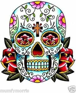 Day of the dead sugar skull tattoo iron on t shirt transfer A5 number 4