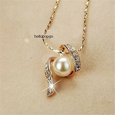 18K Rose Gold Gp Austrian Crystal Cute Pearl Pendant Chain Necklace BR932