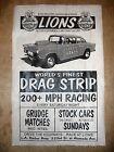 "(593) DRAG STRIP LIONS 55 CHEVY HOT ROD GASSER GARAGE RACING POSTER 11""x17"""