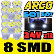 12 X WHITE 24V CAPLESS MARKER LIGHT 505 501 W3W 8 SMD T10 WEDGE BULBS HGV TRUCK