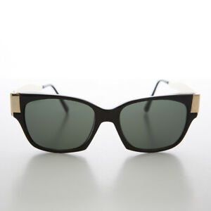 Black Mod Unisex Vintage Sunglass with Gold Temples - Deluca