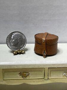 Vintage Artisan Leather Collar Case & Collars Dollhouse Miniature 1:12