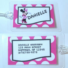 Personalized Disney Minnie Mouse  luggage tag  backpack diaper bag polka dot
