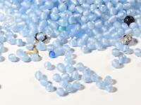 Lot (1400) 3mm Czech vintage blue satin seed glass beads