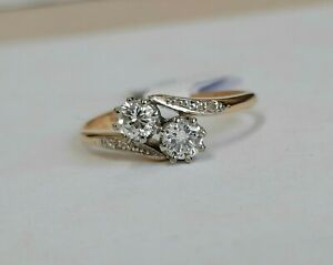 18ct Gold Two Stone Diamond Cross Over Ring 0.42cts