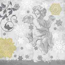 Christmas 20 Paper Lunch Napkins RENAISSANCE ANGEL Silver Luxury Winter Snow / D