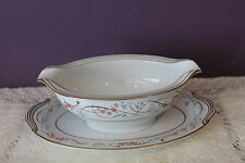 NORITAKE CHINA JAPAN GRAVY BOAT WITH ATTACHED UNDERPLATE 5778 CALVERT