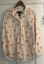 RALPH LAUREN Women's S Small Pink Rose Knit SleepShirt Pajama 100% Cotton