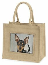 Miniature Pinscher 'Yours Forever' Large Natural Jute Shopping Bag C, AD-MP1yBLN