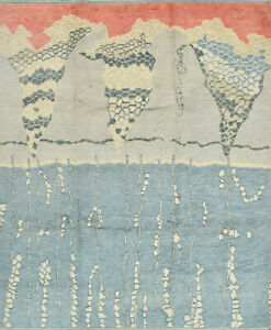 Modern Moroccan 8'x10' Blue Wool Hand-Knotted Area Rug