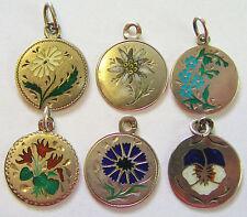 Antique Art Nouveau German 800 Silver Enamel Flower Charm ~ Beautiful! Pick 1