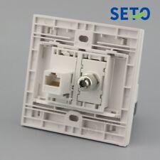 86 Type RJ45 Cat5e Network Lan+TV Connector Wall Plate Socket Keystone Faceplate