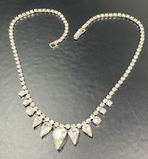 "WEISS Vintage Necklace Choker 15""' Crystal Rhinestones Silver Tone"