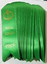 """Lot Of 25x *Third Honor* Award Ribbons School, Contest, Sports. 2""""x7"""" Green New!"""