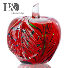 Hand Blown Glass Red Apple Art Craft Fruit Figurine Collectible Paperweight Gift