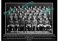 OLD 8x6 HISTORIC PHOTO OF UNIVERSITY OF MICHIGAN FOOTBALL TEAM 1957