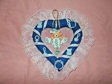 Hand Made Baby's First Christmas 2018 Blue Heart Shaped Wreath Handcrafted