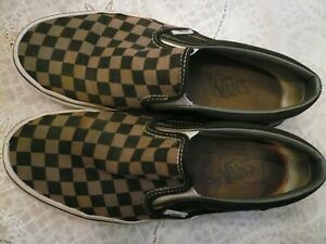 Brown and Black  Checkerboard Vans Classic Slip On shoes size 9 pre-owned