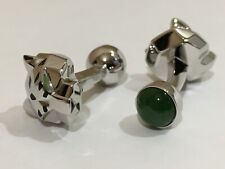 Cartier Panthere Cufflinks, Sterling Silver 925 & Green Stone
