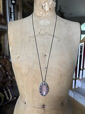 "NEW ALEXIS BITTAR PINK LUCITE, GUNMETAL LONG NECKLACE, CRYSTALS, 32"" Long"