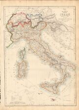 1863  LARGE ANTIQUE MAP - DISPATCH ATLAS- ITALY, INCLUDING SWITZERLAND, TYROL,