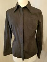 Express Stretch Collared Button Down Women's Dress Shirt Size 11/12 Charcoal