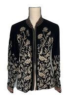 Icelandic Design Womens Cardigan Sweater Black Beige Floral Zip Up Long Sleeve L