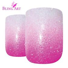 False Nails Pink GEL Ombre French Squoval 24 Medium Bling Art Tips 2g Glue