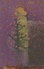 Postcard: Art Nouveau repro - Smiling Angel w Christmas Tree and Stars