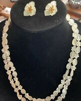 Hong Kong Opera Length (~51) Clear Lucite And Floral Bead Necklace With Earrings