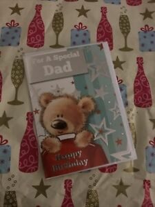 FOR A SPECIAL DAD HAPPY BIRTHDAY GREETING CARD CUTE TEDDY BEAR STARS FAMILY
