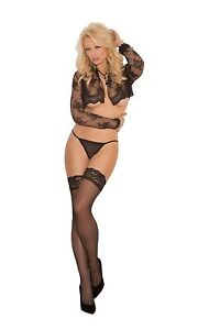 Lace Top Thigh High Stockings Sheer ELEGANT MOMENTS Plus Size Black White Red
