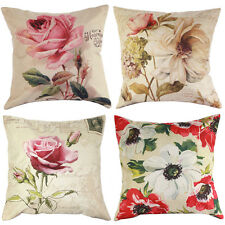"""17"""" Roses Floral Linen Cushion Cover Throw Pillow Case Home Decor Festive Gifts"""