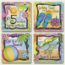 4 Tropical Beach Scenes Stone Coasters Set 4 Pack 05-819