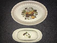 "Vintage Vernon Ware by Metlox FRUIT BASKET 12"" Platter & Butter Dish"