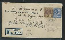 LEEWARD ISLANDS (P2906B)1936 KGV 3D+ANTIGUA 3D REG FROM ANTIGUA TO USA MIX FRANK