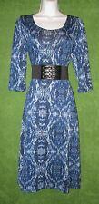 Robbie Bee Signature Blue Black Stretch Knit Belt Scarf Dress L 12/14 $89 MISC