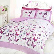 BUTTERFLY FLUTTER SINGLE DUVET COVER SET - PINK NEW BEDDING BUTTERFLIES