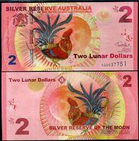 Silver Reserve Australia 2 Lunar Dollars 2017 Rooster UNC
