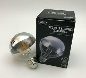 Feit Electric G2540/CHR827FIL Half Chrome Deco Globe LED Bulb, 40 W