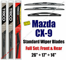 Wiper Blades 3-Pack Front Rear - fit 2007-2015 Mazda CX-9 CX9 - 30260/170/14A
