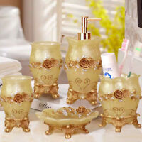 HOT 5pcs Gold Embossment Flower Bathroom Accessory Set Resin Soap Dish Dispenser