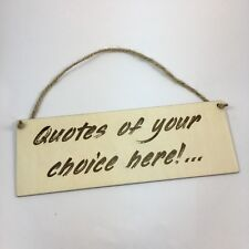YOUR MESSAGE Personalised Wooden Plaque Hanging Wall Sign custom engraved